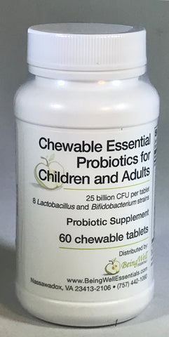 Chewable Essential Probiotics for Children & Adults - 60 tablets