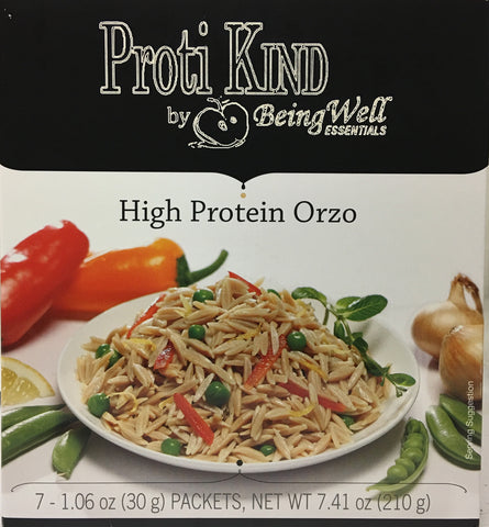 Proti Kind High Protein ORZO High Protein Pasta - 18g protein - 7 servings - only 4 net carbs