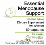 Essential Menopause Support with Black Cohosh dietary supplement for Women 60 capsules