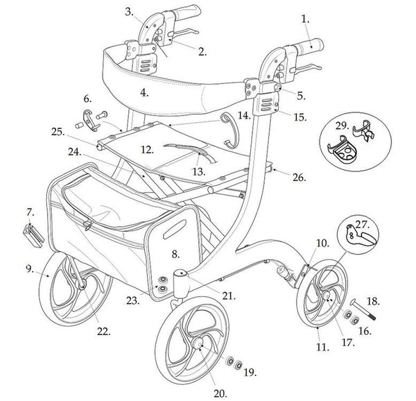 All Replacement Parts For Drive Nitro 10266 Rollator