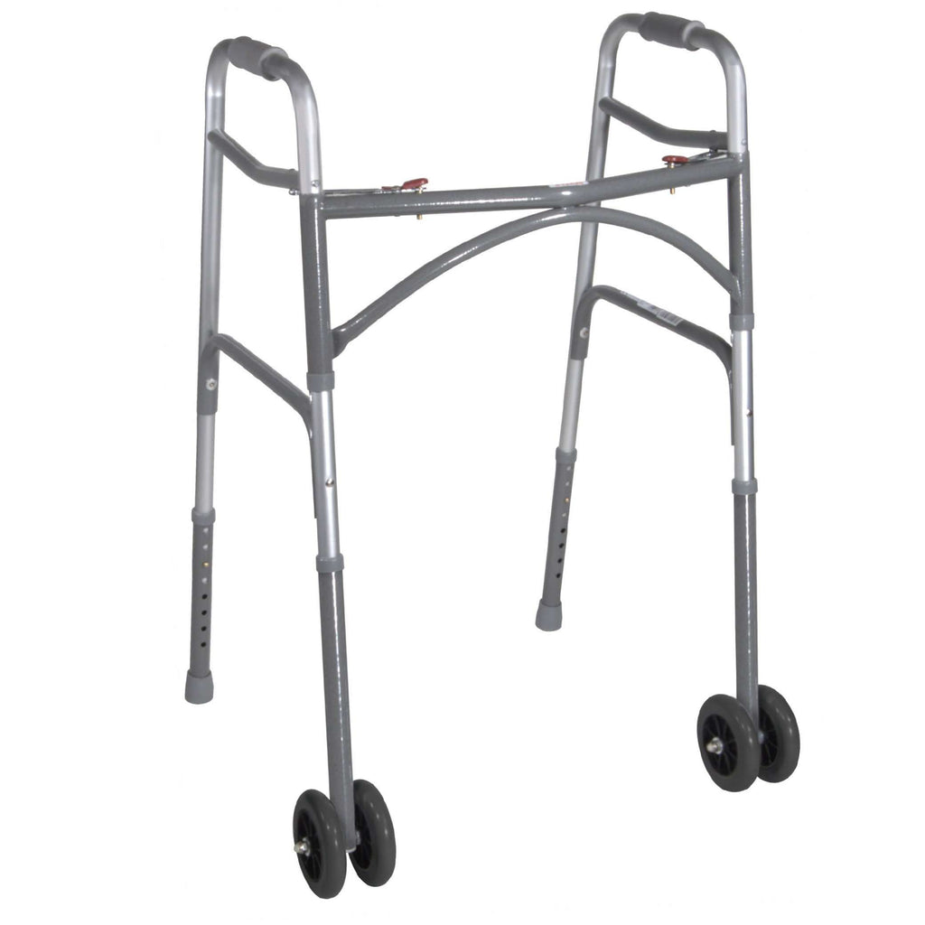 Drive 10220-1ww Heavy Duty Bariatric Two Button Walker with Wheels - Advanced Healthmart