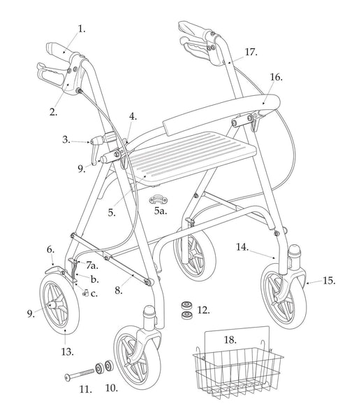 Replacement parts for Drive 10257 series rollator
