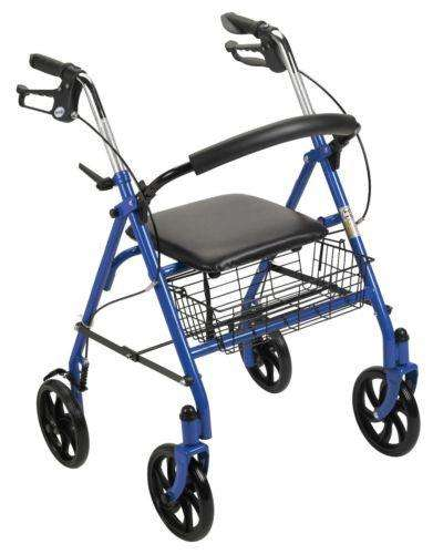 "Drive 10257BL-1 Blue Durable 4 Wheel Rollator with 7.5"" Casters - Advanced Healthmart"