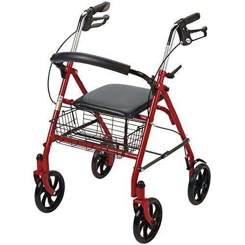 "Drive 10257RD-1 Red Durable 4 Wheel Rollator with 7.5"" Casters - Advanced Healthmart"
