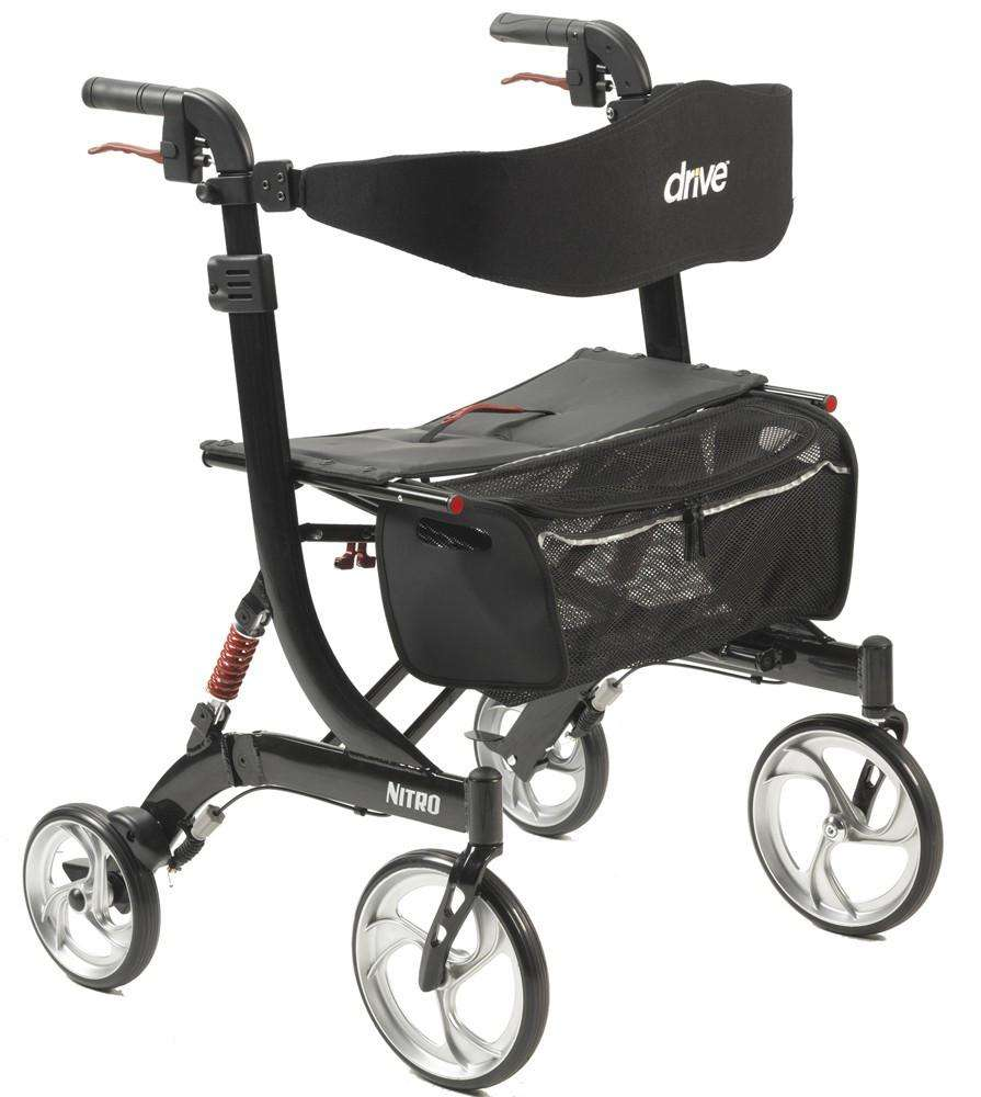 Drive 10266hd-bk Nitro Heavy Duty Euro Style Walker Rollator - Advanced Healthmart