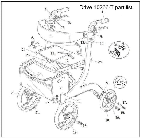 All Replacement parts for the Drive 10266T Tall Nitro Rollator - Advanced Healthmart