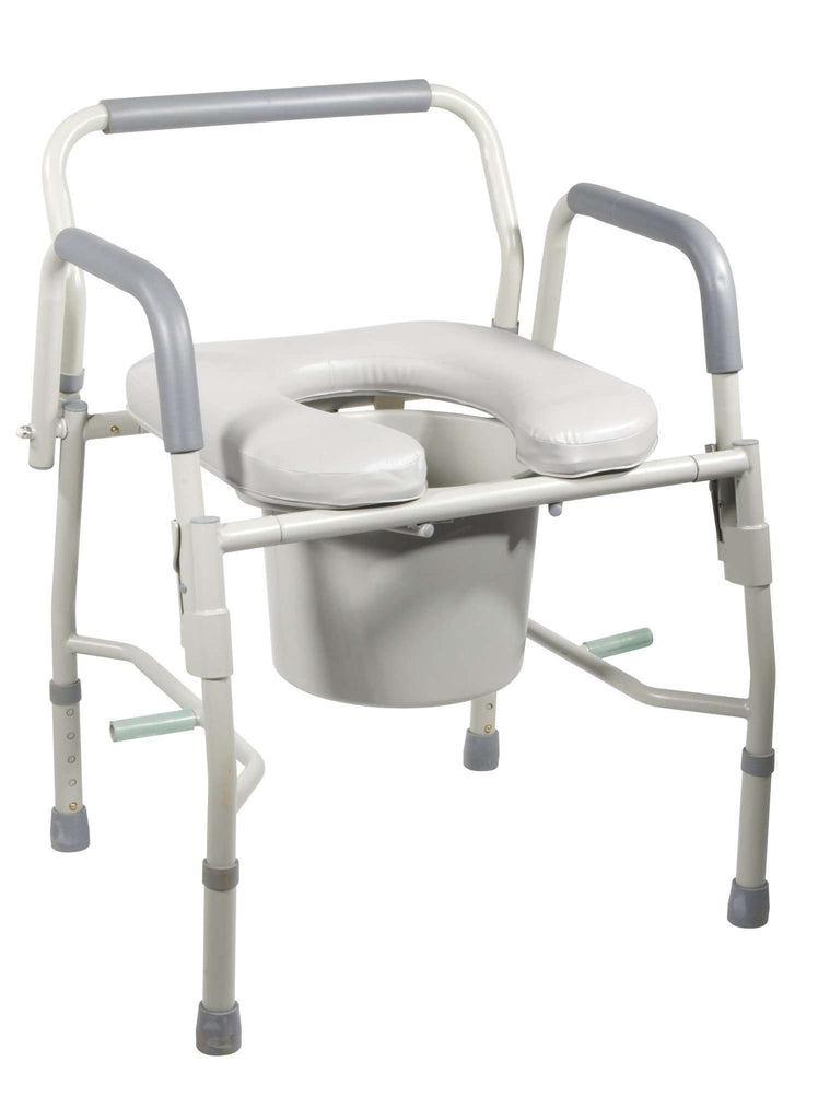 Drive Medical 11125PSKD-1 Steel Drop Arm Bedside Commode W/ Padded Seat & Arms - Advanced Healthmart