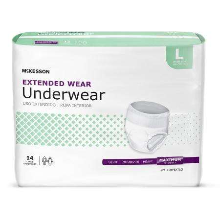 McKesson Heavy Absorbency Extended Wear Pull On, Large UWEXTLG, 56/cs