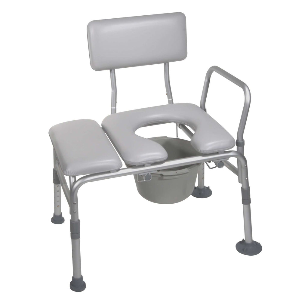 Drive 12005kdc-1 Padded Seat Transfer Bench with Commode Opening - Advanced Healthmart