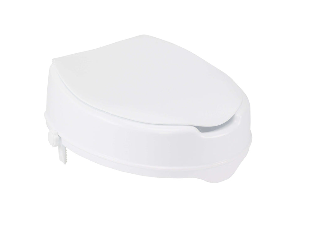 "Drive 12065 Raised Toilet Seat with Lock and Lid, Standard Seat, 4"" - Advanced Healthmart"