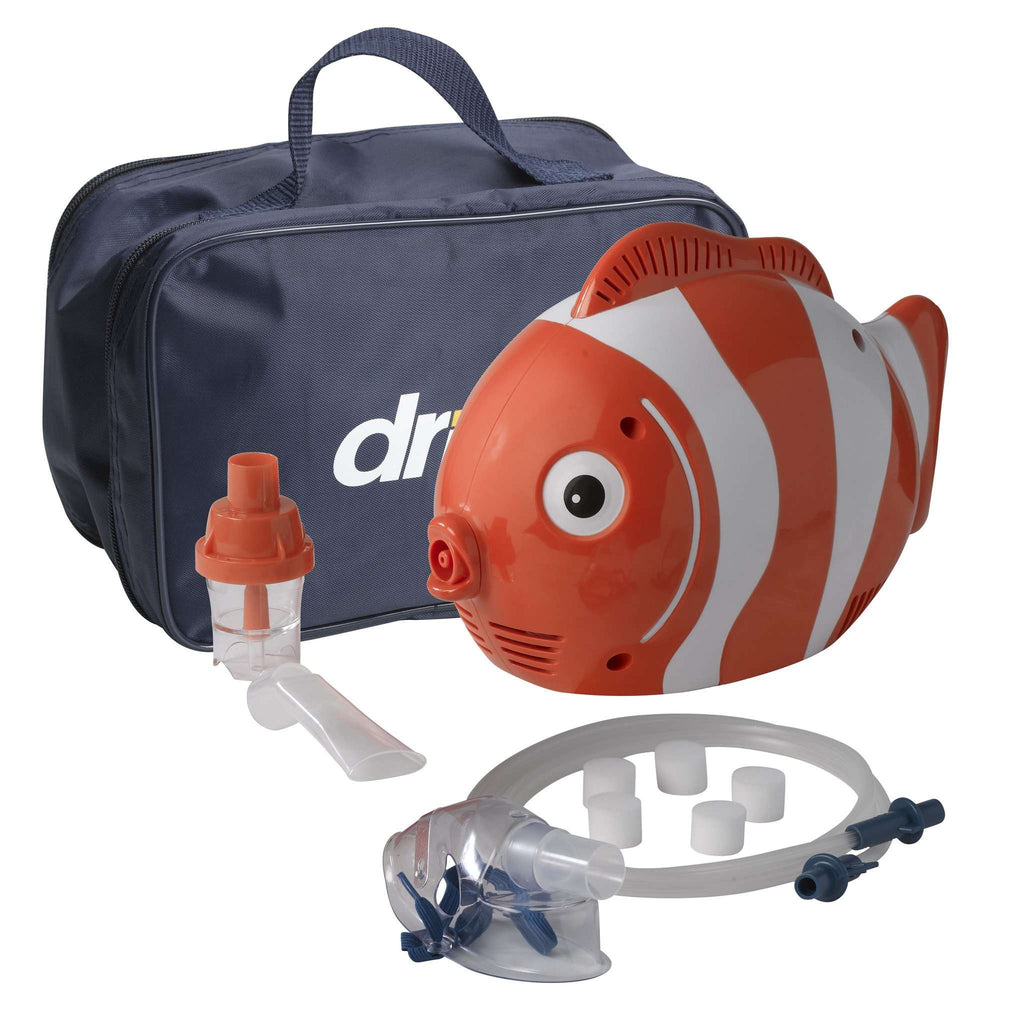 Drive 18091-fs Pediatric Fish Compressor Nebulizer with Reusable and Disposable Neb Kit - Advanced Healthmart