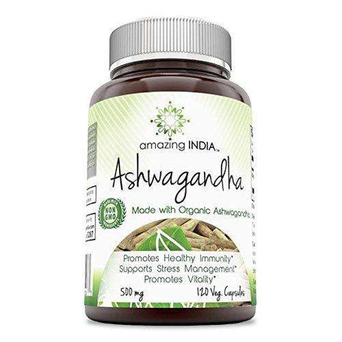 Amazing India Ashwagandha 500 Mg 120 Veg Capsules - Advanced Healthmart