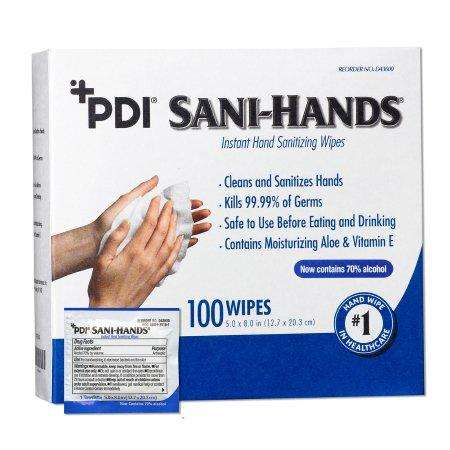 Sani-Hands Individual Hand Sanitizing Wipes, bx/100