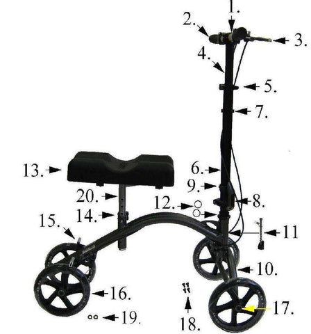 All replacement parts for Drive 790 DV8 Steerable Knee Walker - Advanced Healthmart