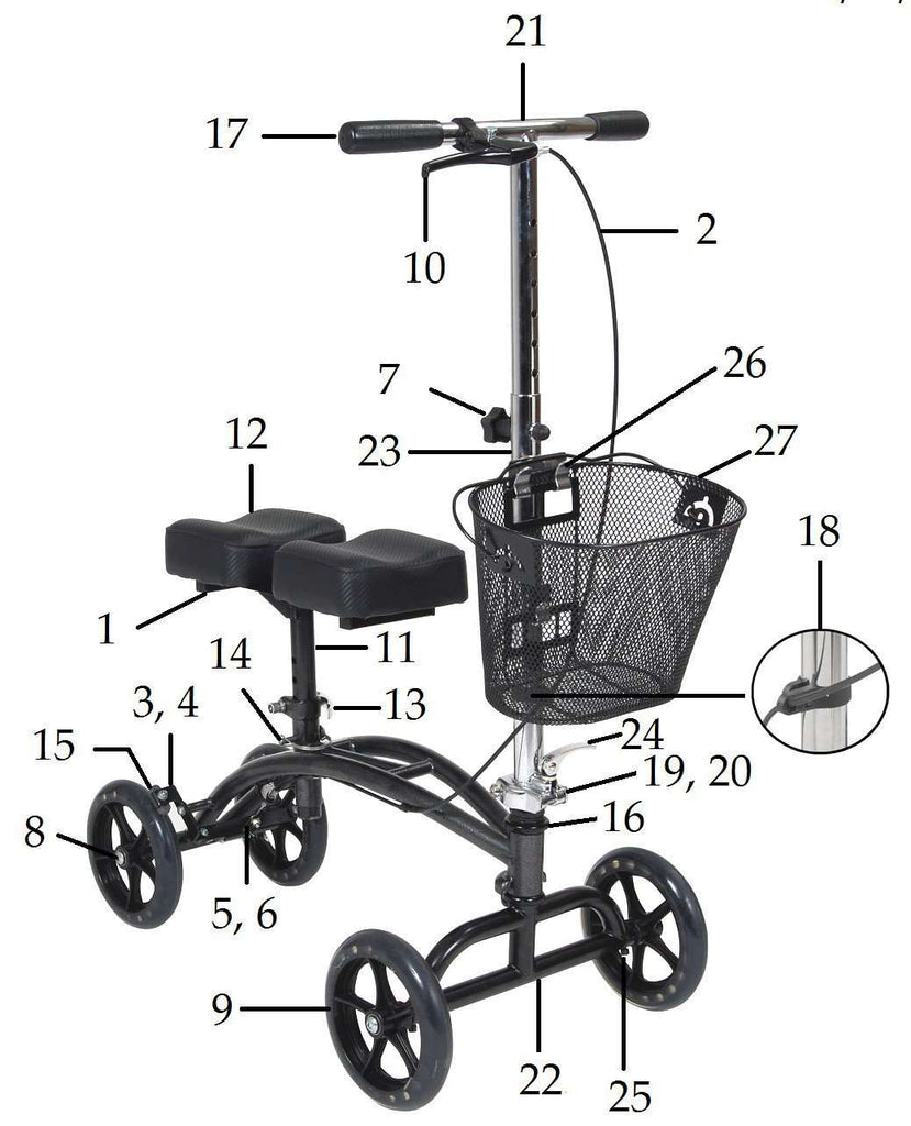 All replacement parts for Drive 796 Knee Walker - Advanced Healthmart