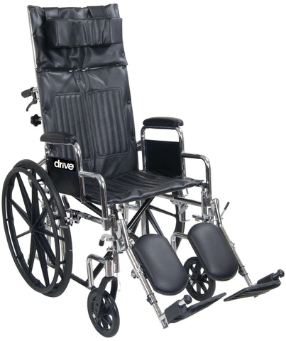 "Drive Chrome Sport 18"" Desk Length Arm Reclining Wheelchair CS18RBDDA - Advanced Healthmart"