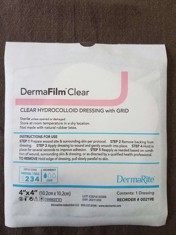 DermaRite DermaFilm Clear 4x4 Hydrocolloid with Grid, 00219E 10/bx - Advanced Healthmart