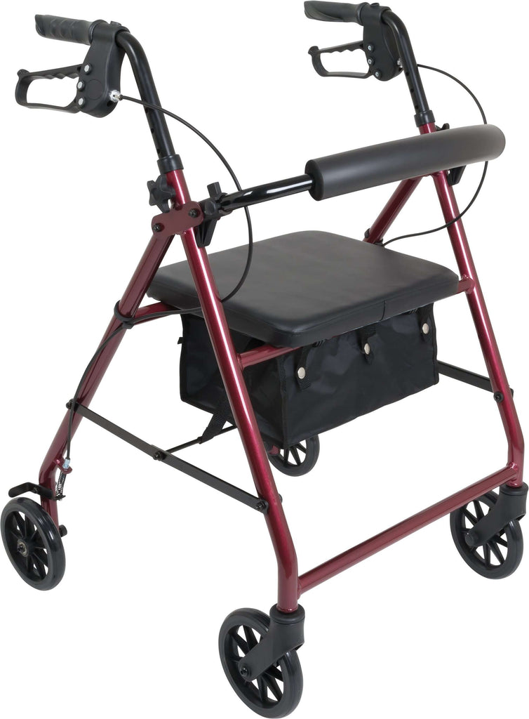 "ProBasics RLA6BG 300 lb capacity 6"" wheel Aluminum Rollator, Burgundy - Advanced Healthmart"