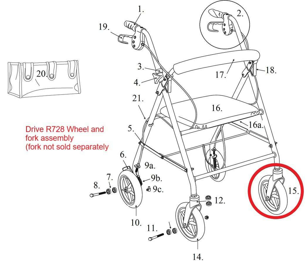 Drive R728 Series Rollator Front Wheel and Fork Assembly, 9502M72801