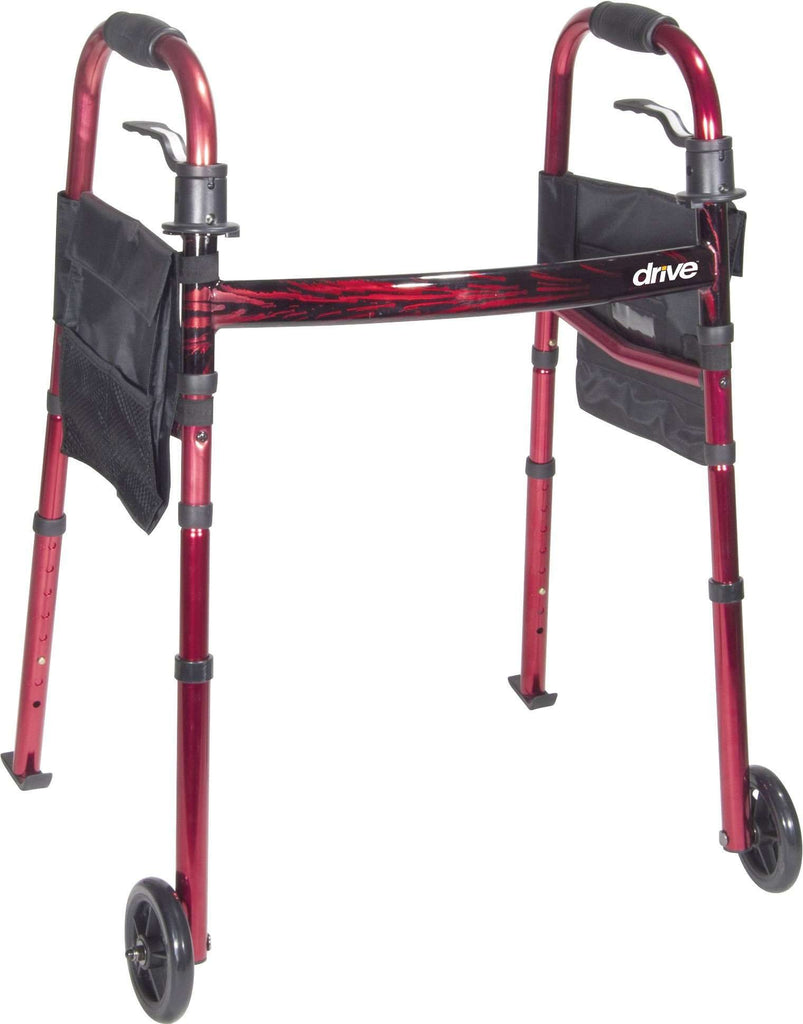 "Drive Medical RTL10263KDR Deluxe Folding Travel Walker with 5"" Wheels and skis - Advanced Healthmart"