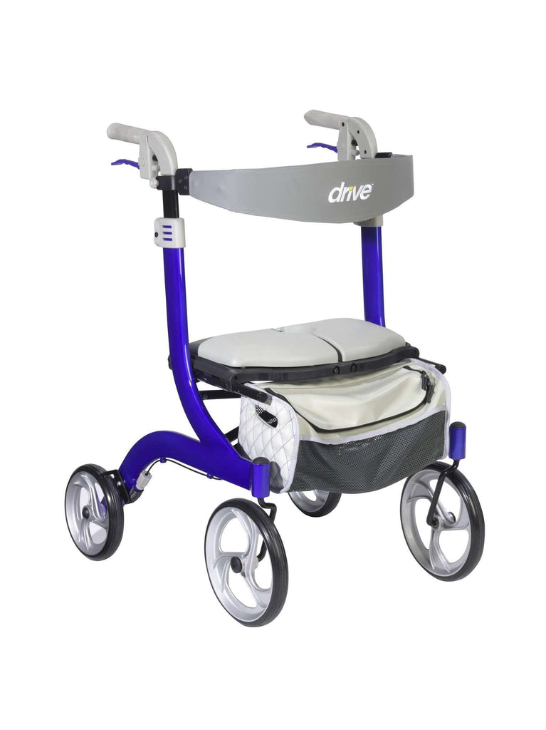 Drive Medical RTL10266BL-HS Nitro Deluxe EuroStyle Rollator with rigged seat, Blue - Advanced Healthmart