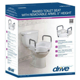 Drive RTL12027RA 2 in 1 Tool Free Locking Raised Toilet Seat with Removable Arms - Advanced Healthmart