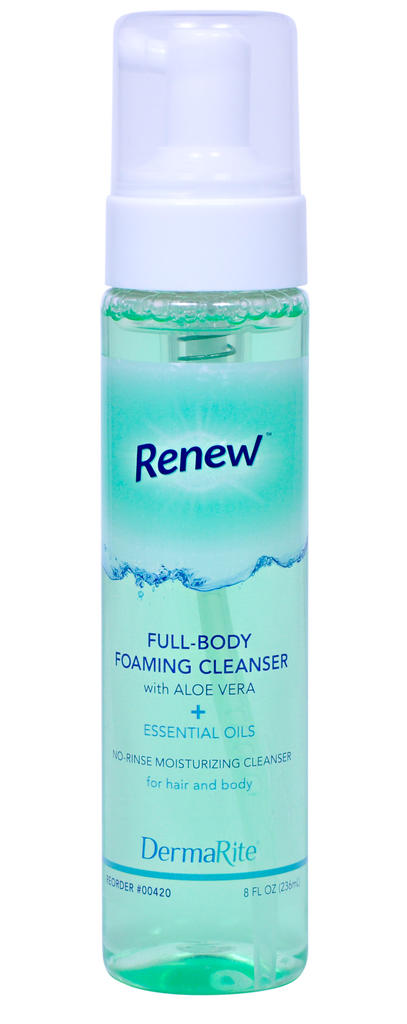 DermaRite Renew 8oz. Rinse-Free Foaming Body Wash, Pump Btl 00420