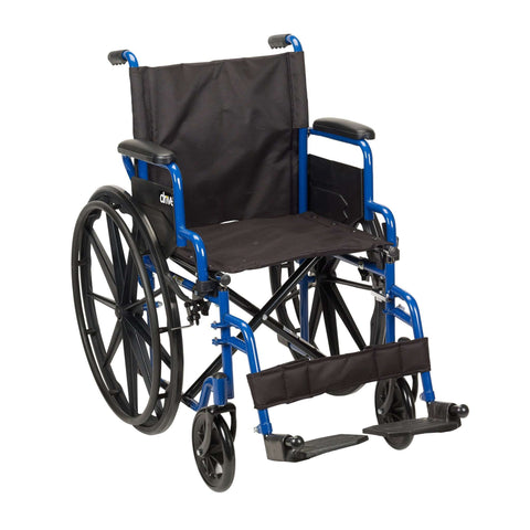 "Drive bls16fbd-sf Blue Streak Wheelchair with Flip Back Desk Arms, Swing Away Footrests, 16"" Seat - Advanced Healthmart"