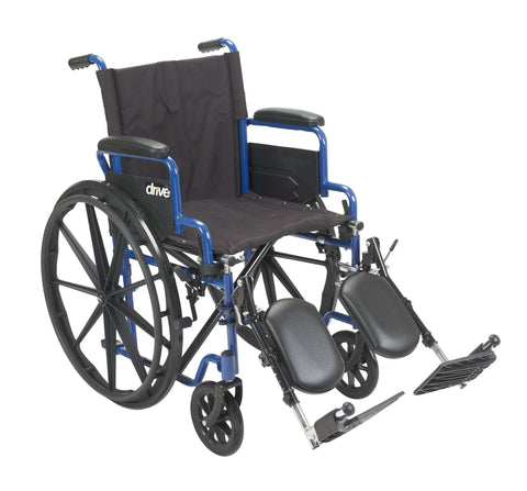 "Drive bls20fbd-elr Blue Streak Wheelchair with Flip Back Desk Arms, Elevating Leg Rests, 20"" Seat - Advanced Healthmart"