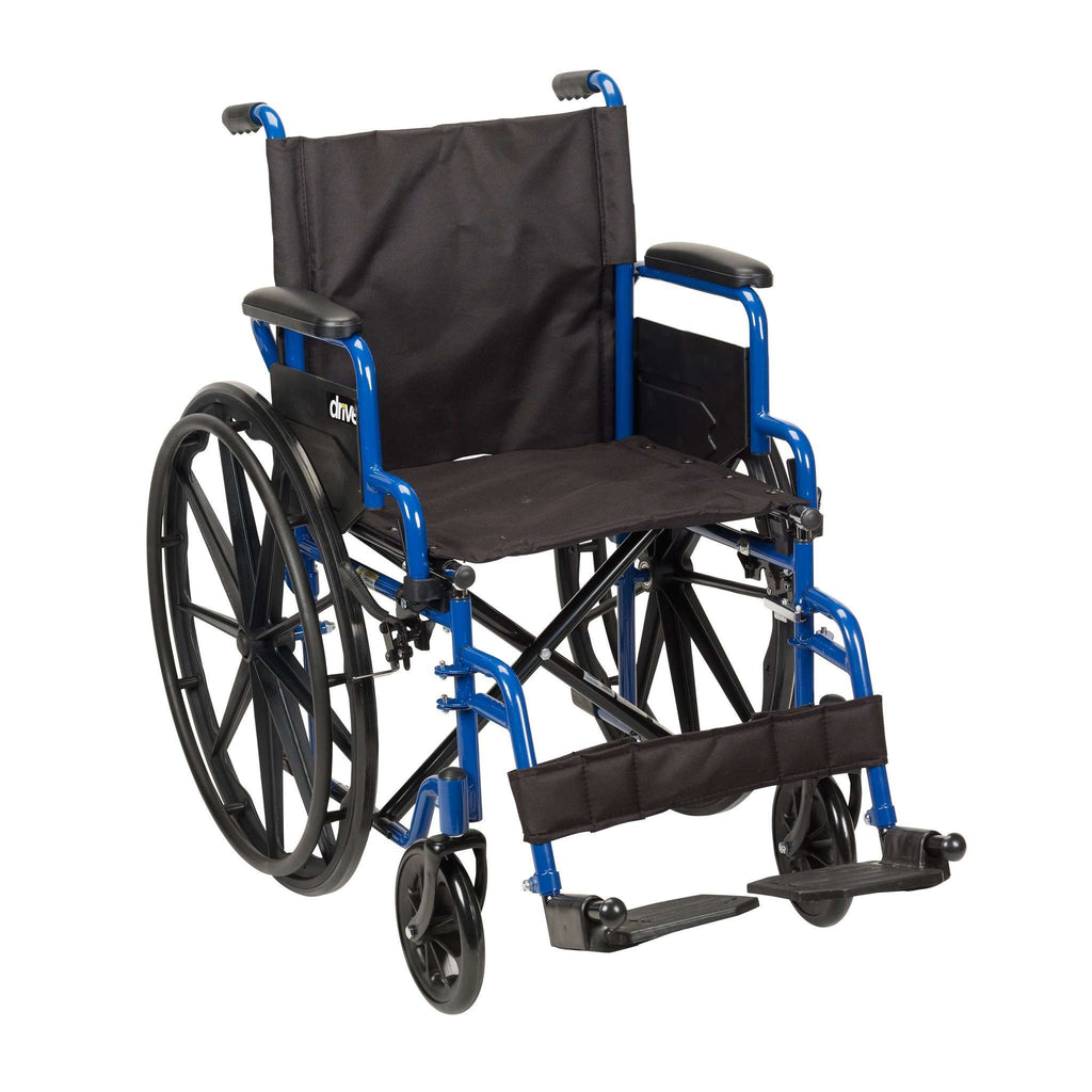 "Drive bls20fbd-sf Blue Streak Wheelchair with Flip Back Desk Arms, Swing Away Footrests, 20"" Seat - Advanced Healthmart"