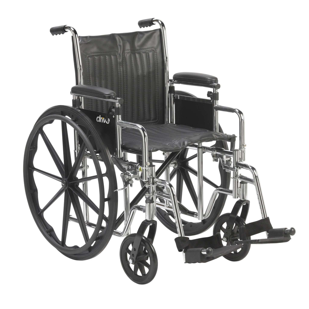 "Drive cs18adda-sf Chrome Sport Wheelchair, Adjustable and Detachable Desk Arms, Swing Away Footrests, 18"" Seat - Advanced Healthmart"