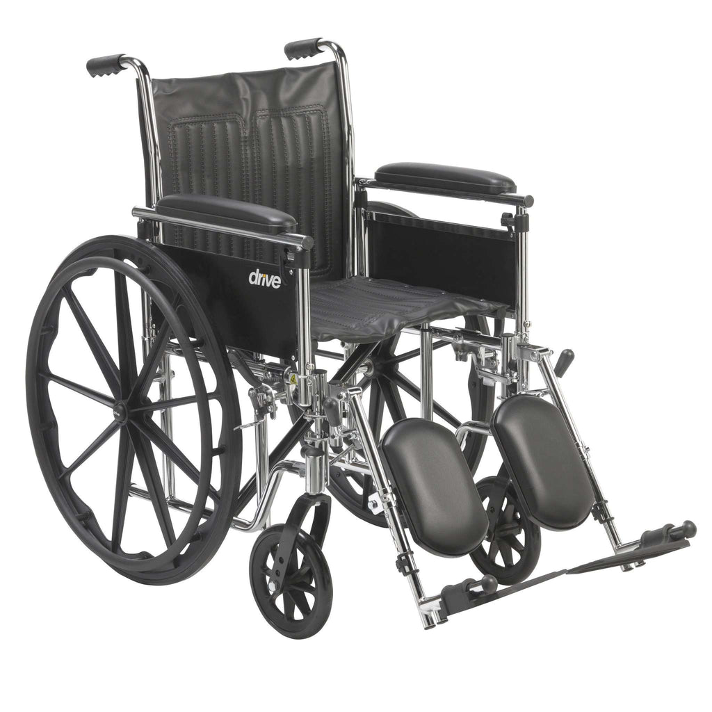 "Drive cs18adfa-elr Chrome Sport Wheelchair, Adjustable and Detachable Full Arms, Elevating Leg Rests, 18"" Seat - Advanced Healthmart"