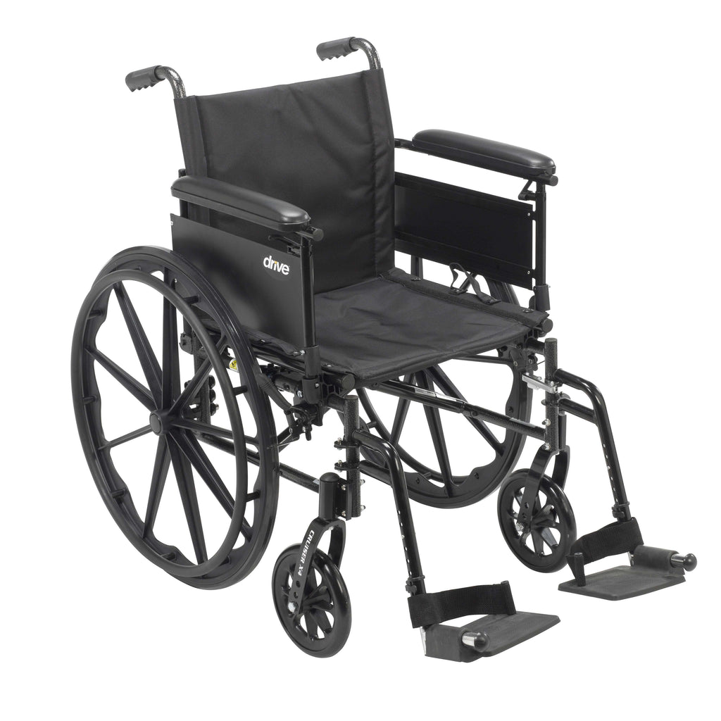 "Drive cx416adfa-sf Cruiser X4 Lightweight Dual Axle Wheelchair with Adjustable Detachable Arms, Full Arms, Swing Away Footrests, 16"" Seat - Advanced Healthmart"