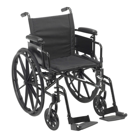 "Drive cx418adda-sf Cruiser X4 Lightweight Dual Axle Wheelchair with Adjustable Detachable Arms, Desk Arms, Swing Away Footrests, 18"" Seat - Advanced Healthmart"