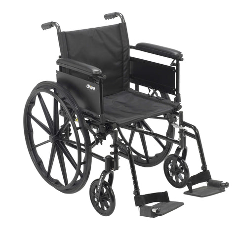 "Drive cx418adfa-sf Cruiser X4 Lightweight Dual Axle Wheelchair with Adjustable Detachable Arms, Full Arms, Swing Away Footrests, 18"" Seat - Advanced Healthmart"