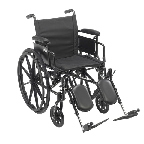 "Drive cx420adda-elr Cruiser X4 Lightweight Dual Axle Wheelchair with Adjustable Detachable Arms, Desk Arms, Elevating Leg Rests, 20"" Seat - Advanced Healthmart"