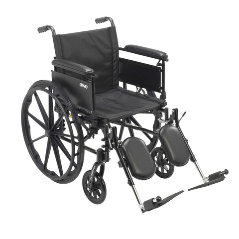 "Drive cx420adfa-elr Cruiser X4 Lightweight Dual Axle Wheelchair with Adjustable Detachable Arms, Full Arms, Elevating Leg Rests, 20"" Seat - Advanced Healthmart"