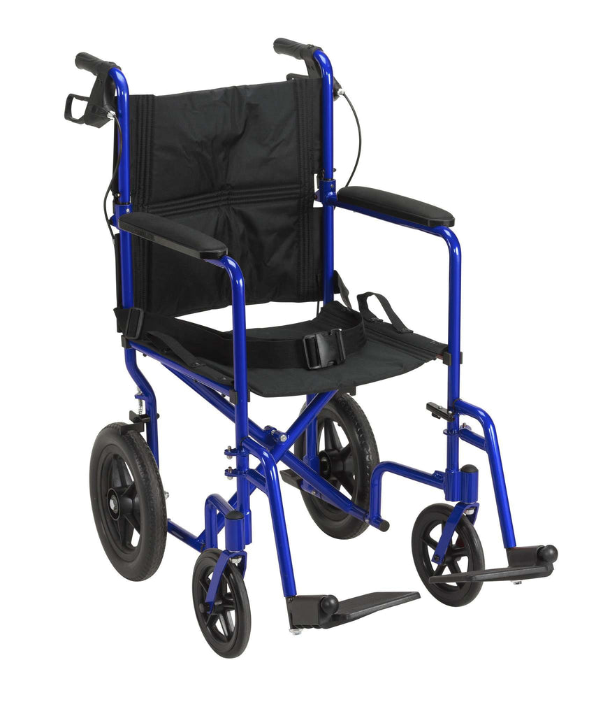 Drive exp19ltbl Lightweight Expedition Transport Wheelchair with Hand Brakes, Blue - Advanced Healthmart