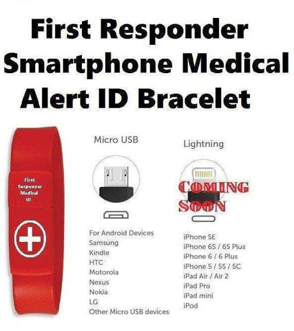 First Responder Smartphone MicroUSB Emergency Medical ID bracelet - Advanced Healthmart