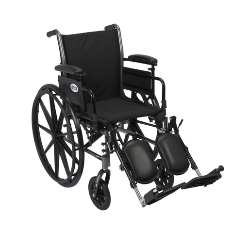 "Drive k318adda-elr Cruiser III Light Weight Wheelchair with Flip Back Removable Arms, Adjustable Height Desk Arms, Elevating Leg Rests, 18"" - Advanced Healthmart"