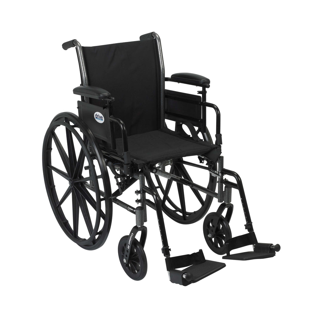 "Drive k318adda-sf Cruiser III Light Weight Wheelchair with Flip Back Removable Arms, Adjustable Height Desk Arms, Swing away Footrests, 18"" - Advanced Healthmart"