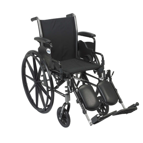 "Drive k318dda-elr Cruiser III Light Weight Wheelchair with Flip Back Removable Arms, Desk Arms, Elevating Leg Rests, 18"" Seat - Advanced Healthmart"