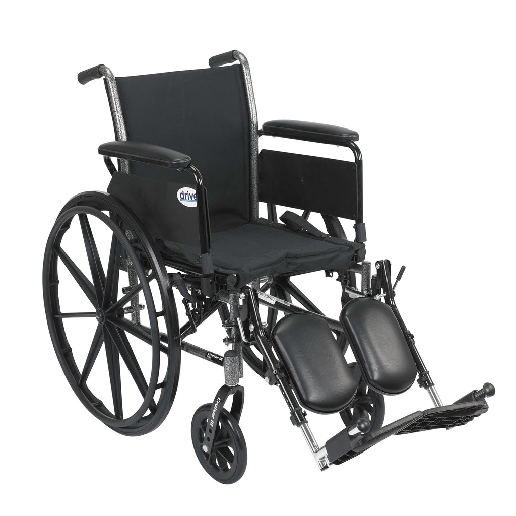"Drive k318dfa-elr Cruiser III Light Weight Wheelchair with Flip Back Removable Arms, Full Arms, Elevating Leg Rests, 18"" Seat - Advanced Healthmart"