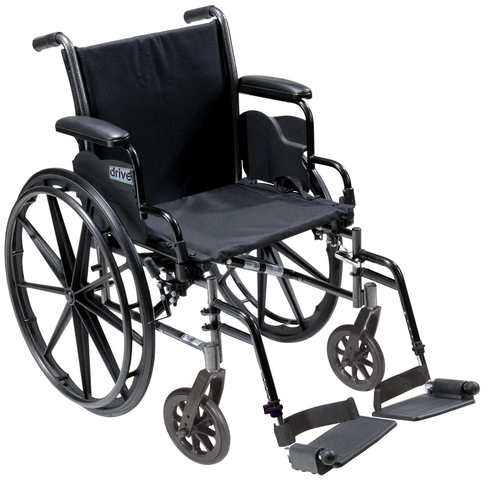 "Drive k320dda-sf Cruiser III Light Weight Wheelchair with Flip Back Removable Arms, Desk Arms, Swing away Footrests, 20"" Seat - Advanced Healthmart"