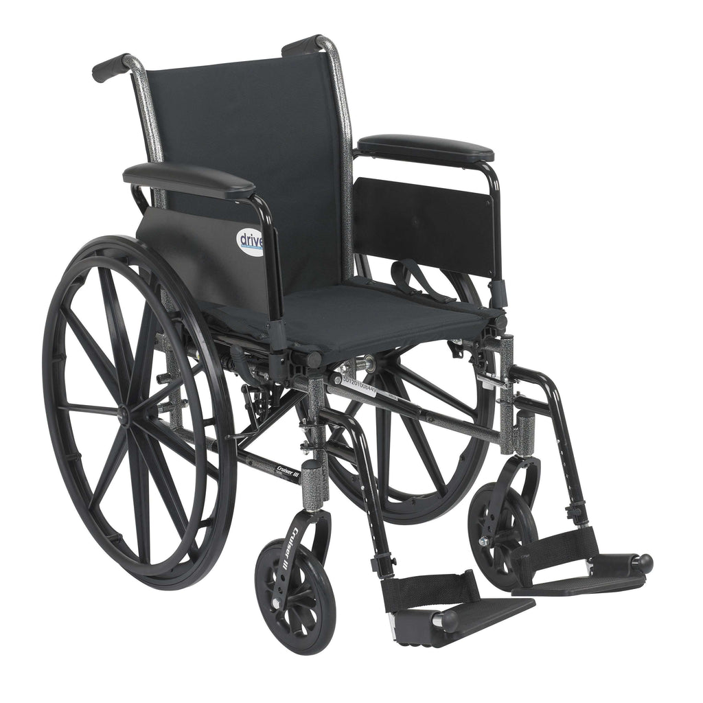 "Drive k320dfa-sf Cruiser III Light Weight Wheelchair with Flip Back Removable Arms, Full Arms, Swing away Footrests, 20"" Seat - Advanced Healthmart"