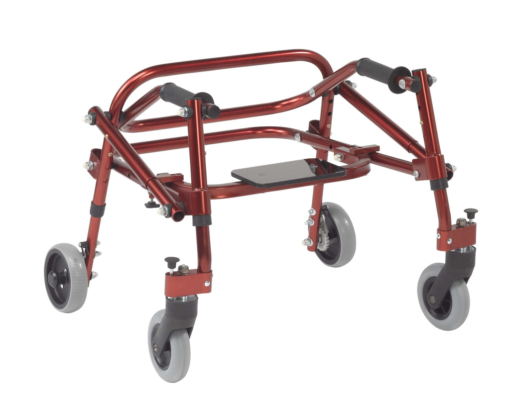Nimbo 2G Lightweight Posterior Walker with Seat, Extra Small, Castle Red - Advanced Healthmart