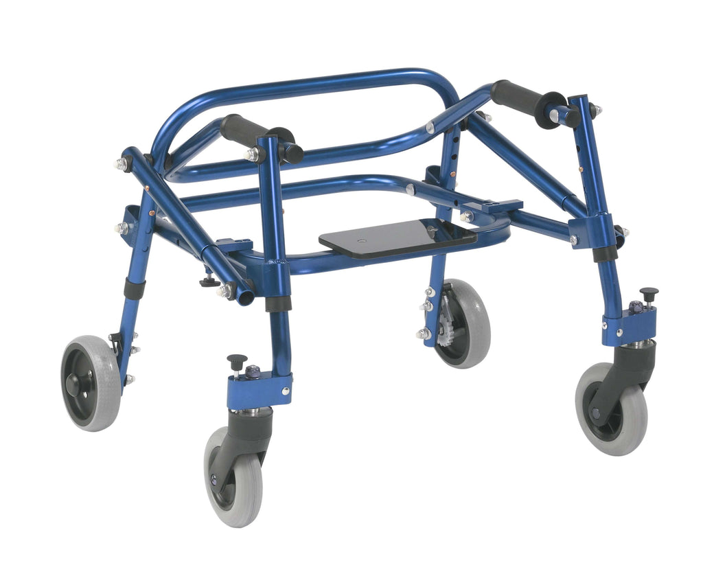 Nimbo 2G Lightweight Posterior Walker with Seat, Extra Small, Knight Blue - Advanced Healthmart