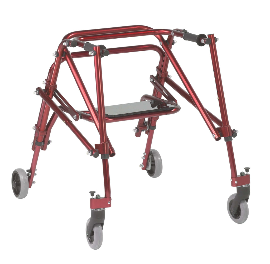 Nimbo 2G Lightweight Posterior Walker with Seat, Medium, Castle Red - Advanced Healthmart