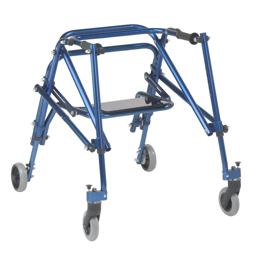 Nimbo 2G Lightweight Posterior Walker with Seat, Medium, Knight Blue - Advanced Healthmart