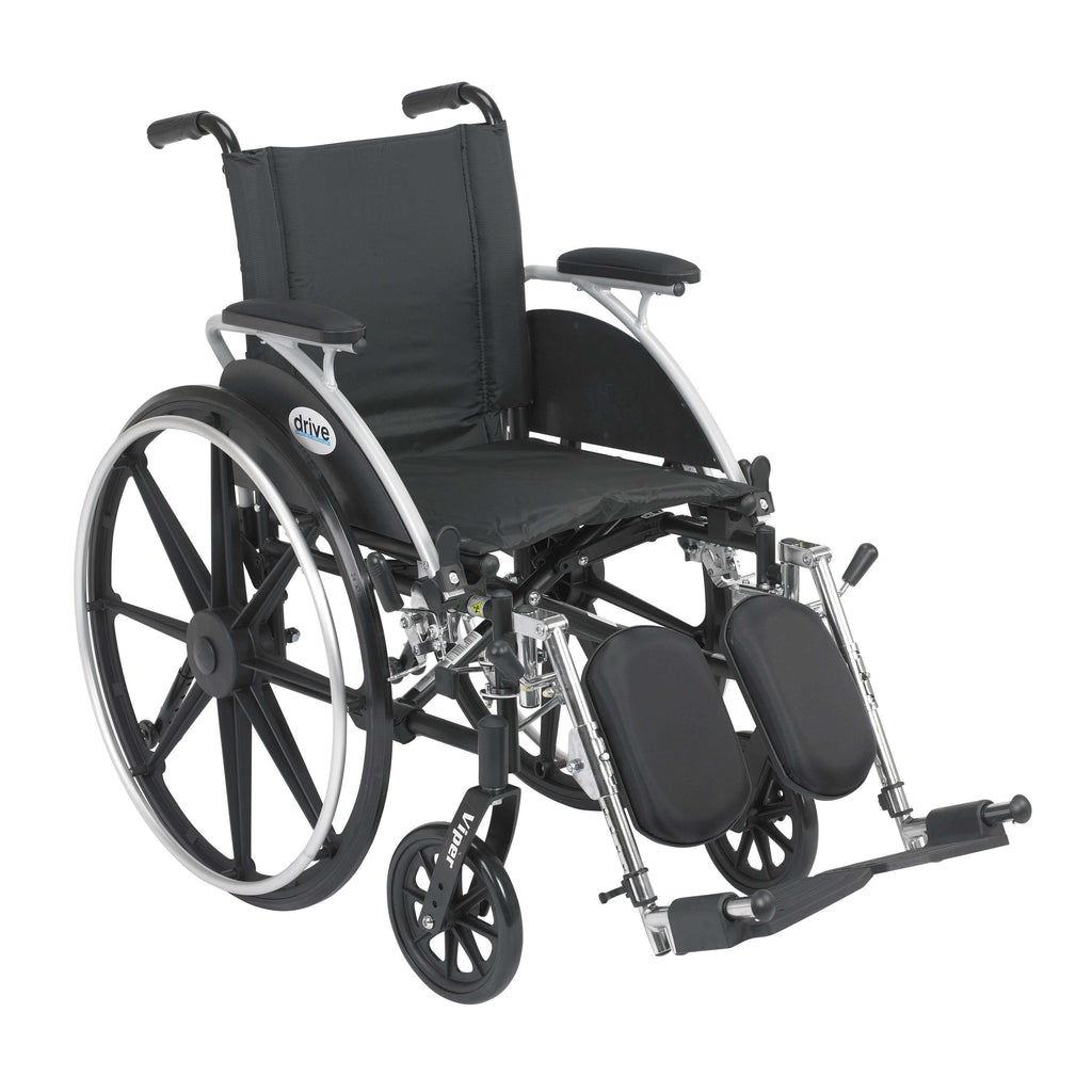 "Drive l414dda-elr Viper Wheelchair with Flip Back Removable Arms, Desk Arms, Elevating Leg Rests, 14"" Seat - Advanced Healthmart"